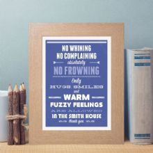 Family Rules Print - Personalised Housewarming Gift